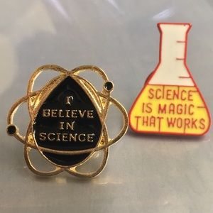 I ❤️ Science pin set, enamel & metal NIB